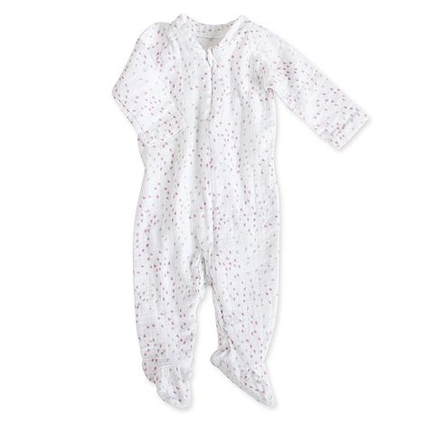 Aden+anais Muslin Long Sleeve One-piece potkuhousut - Lovely Mini Hearts - Vaippavarusteet - 5120321414 - 1