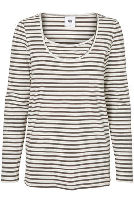 Mamalicious Sofia Nell Strip L/S Top 2 pack - Beluga/Snow White - Yläosat - 2362500147