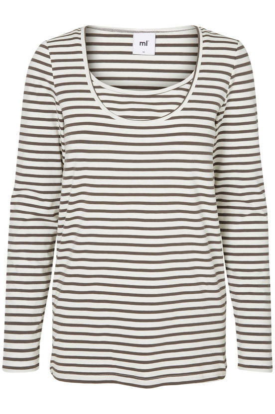 Mamalicious Sofia Nell Strip L/S Top 2 pack - Beluga/Snow White - Yläosat - 2362500147 - 1